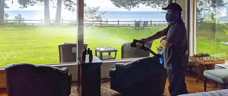 Housekeeping using a sanitizing fogger