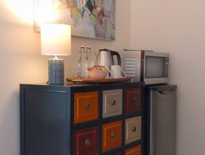 Cape Falttery Cottage chest of drawers, refrigerator, microwave
