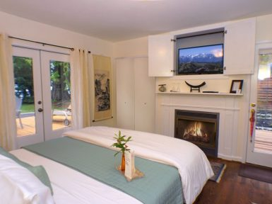 Lake Crescent Suite with blazing fireplace and TV