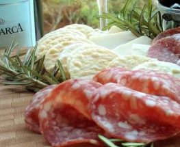 Charcuterie snacks with wine