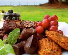Cookies, grapes, chocolate