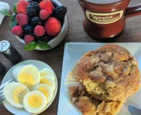 fruit, eggs, muffins and coffee