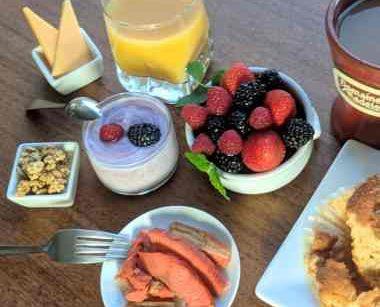 Fruit, orange juice, coffee, breakfast