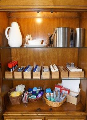 Amenities in wood cabinet