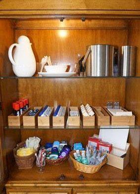 Amenities in wood cabinet