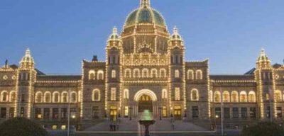 Brittish Columbia legislature building lit with lights