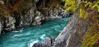 Creek with rushing water between rocks