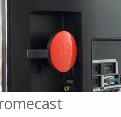 Chromecast streams entertainment from your device's apps to our in-room TV's.