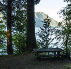 picnic bench at top of hill over body of water with mountain in distance