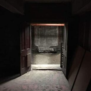 An open doorway in the dark